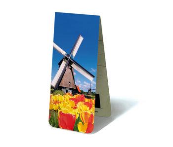 Marcador magnético, molino de viento y tulipanes
