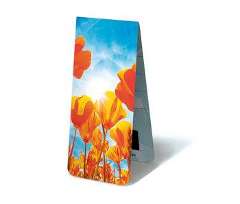 Marcador magnético, tulipanes rojo-amarillos, sol