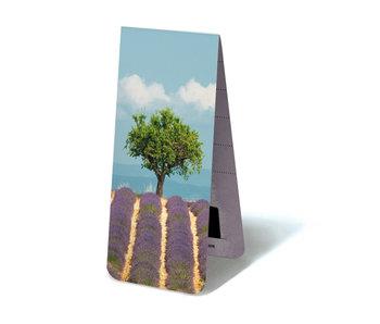 Marcador magnético, campo de lavanda con árbol