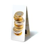 Marque-page magnétique, pièces en euro empilées