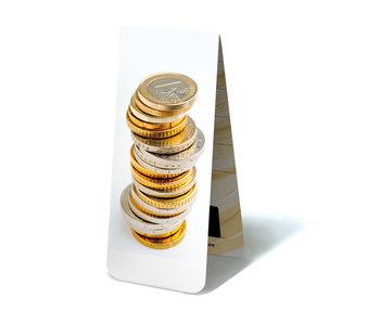 Signet magnétique, pièces en euro empilées