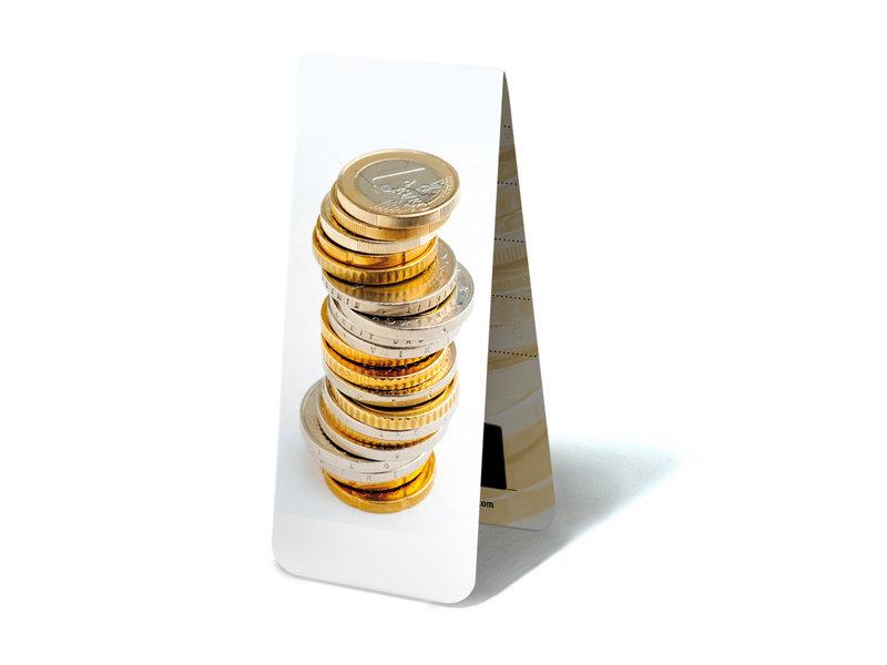 Magnetisches Lesezeichen, gestapelte Euro-Münzen