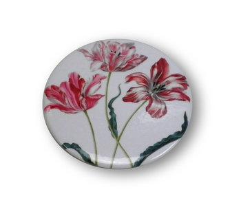 Espejo de bolsillo, pequeño, Ø 60 mm, tres tulipanes, Merian