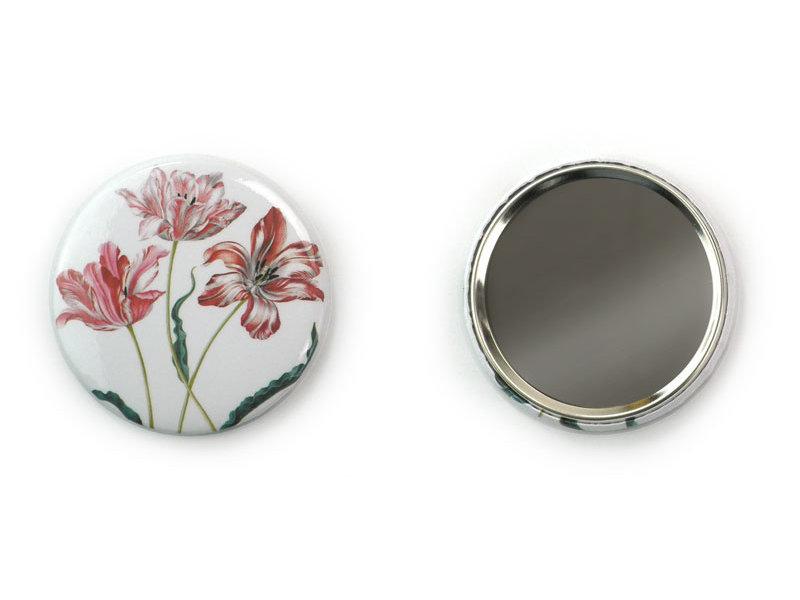 Miroir de poche, petit, Ø 60 mm, trois tulipes, Merian