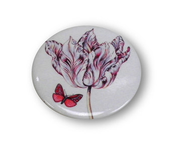 Pocket Mirror W, Ø 60 mm, Marrel, Tulip with butterfly
