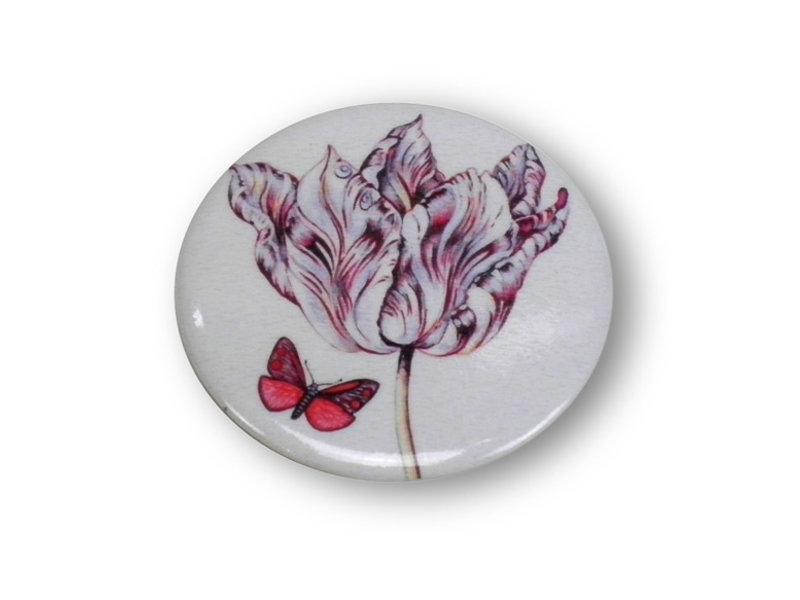Spiegeltje, klein, Ø 60 mm,  Tulp met vlinder, Marrel
