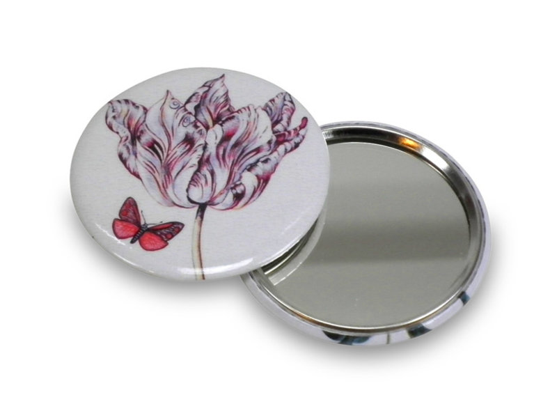 Espejo de bolsillo, Ø 60 mm, Marrel, Tulipán con mariposa