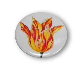 Miroir de poche,  Ø 60 mm, tulipe rouge jaune, Marrel