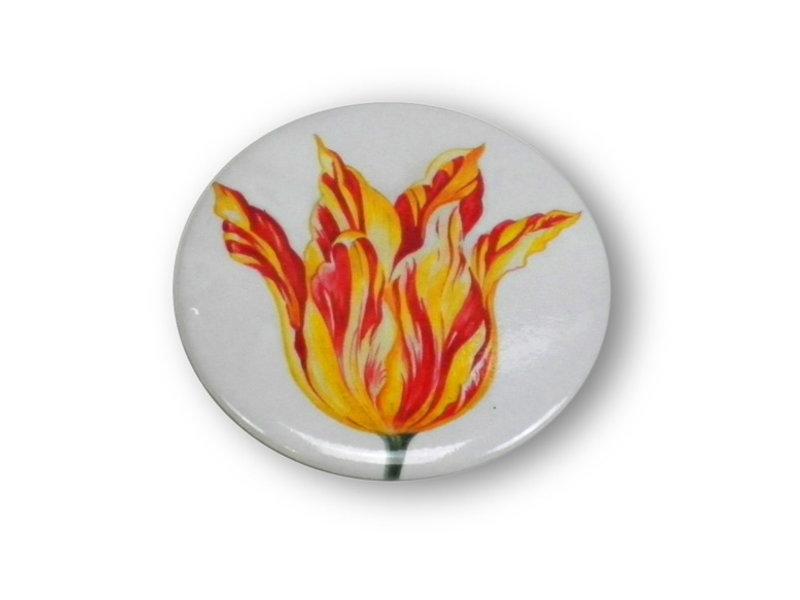 Espejo de bolsillo, pequeño, Ø 60 mm, tulipán rojo amarillo, Marrel