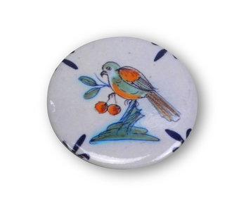 Miroir de poche, Ø 60 mm, carrelage Delft Blue, oiseau