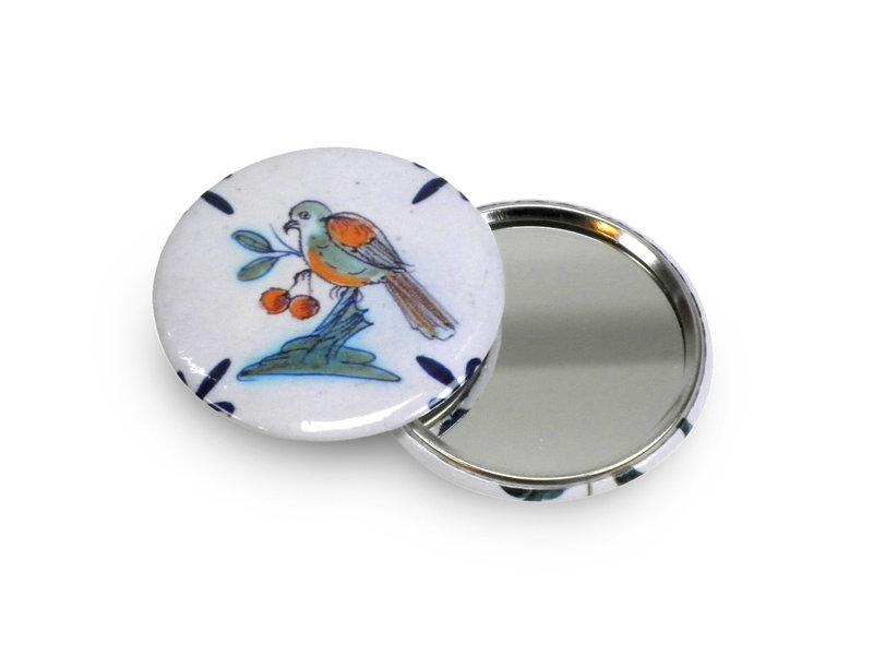 Espejo de bolsillo, Ø 60 mm, Delft Blue bird