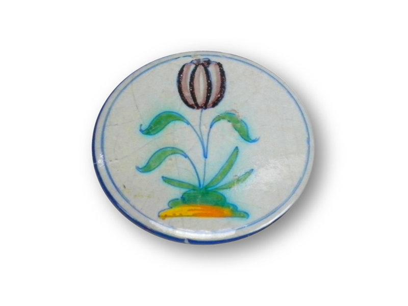 Espejo de bolsillo, Ø 60 mm, tulipán Delft Blue en círculo