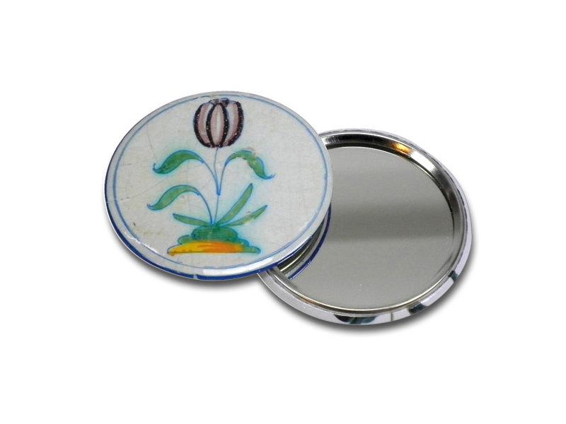 Miroir de poche, Ø 60 mm, tulipe bleu de Delft en cercle