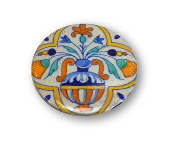 Espejo de bolsillo, Ø 60 mm, florero Delft Blue con flores