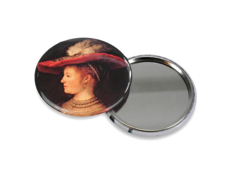 Spiegeltje, klein,Ø 60 mm,   Saskia, Rembrandt