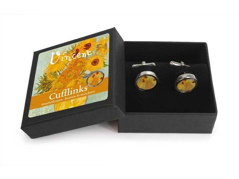 Manchetknopen, zonnebloemen, Van Gogh