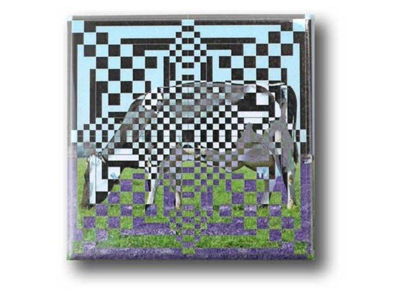 Fridge Magnet, Optical Art OA 18 Cow