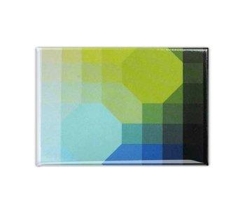 Kühlschrankmagnet, Optische Kunst Grün / Blau