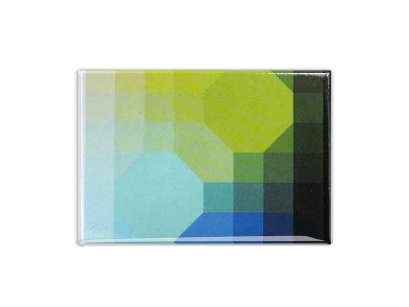 Koelkastmagneet, Op-Art groen/Blauw