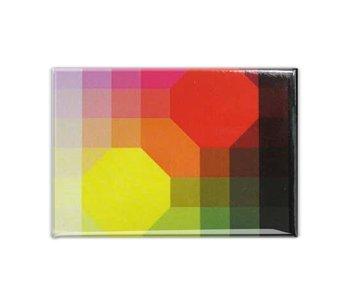 Aimant pour réfrigérateur, Art optique jaune / rouge