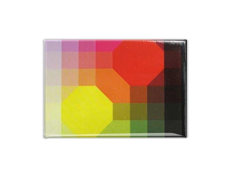 Imán de nevera, arte óptico amarillo / rojo