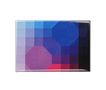 Koelkastmagneet, Op-Art  Paars/Blauw