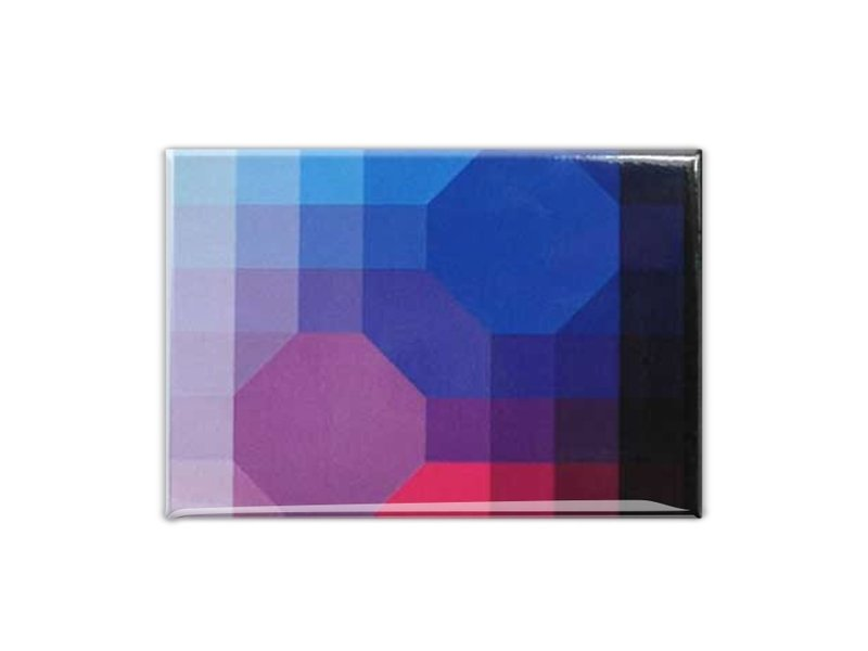 Fridge Magnet, Optical Art Purple/Blue