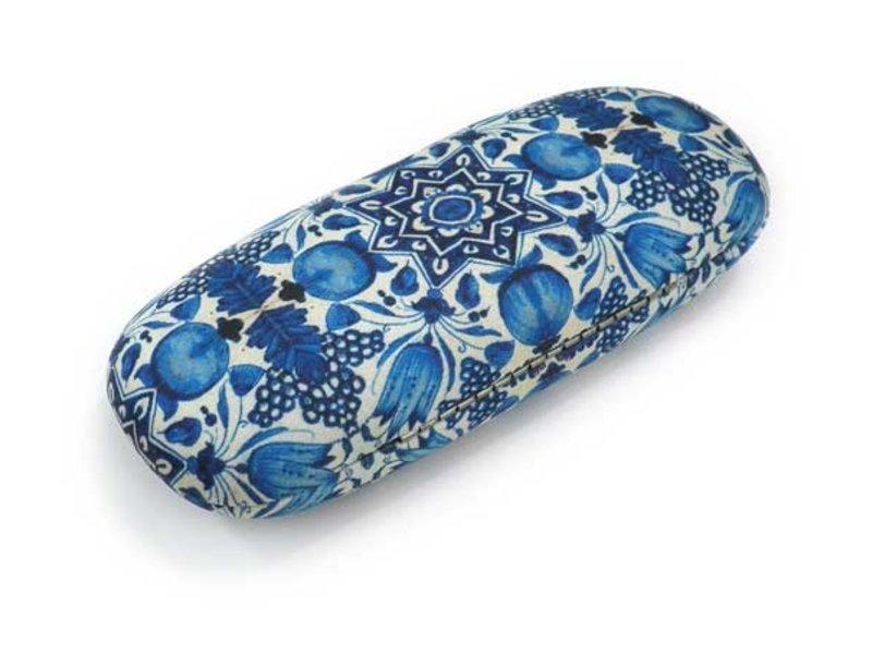 Estuche para gafas, azulejos de tulipán azul de Delft