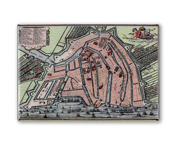 Aimant pour réfrigérateur, carte d'Amsterdam 1585