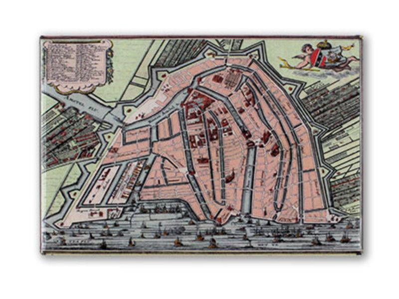 Kühlschrankmagnet, Amsterdam Karte 1585