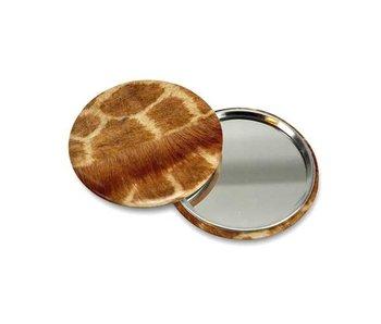 Espejo de bolsillo pequeño, Ø 60 mm, piel jirafa
