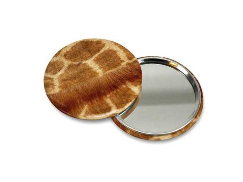 Petit miroir de poche, Ø 60 mm, Girafe de peau