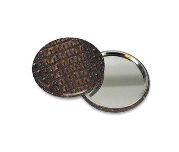 Espejo de bolsillo pequeño, Ø 60 mm, piel, cocodrilo