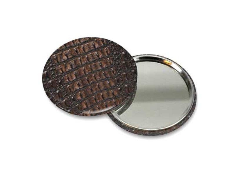 Taschenspiegel klein, Ø 60 mm, Haut, Krokodil