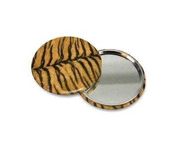 Espejo de bolsillo pequeño, Ø 60 mm, piel, tigre