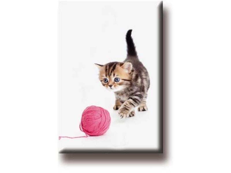 Aimant pour réfrigérateur, Chat avec pelote de laine