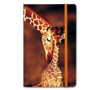 Softcover-Notizbuch A6, Giraffe und Babygiraffe