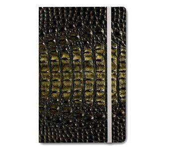 Cuaderno de tapa blanda A6, piel de cocodrilo