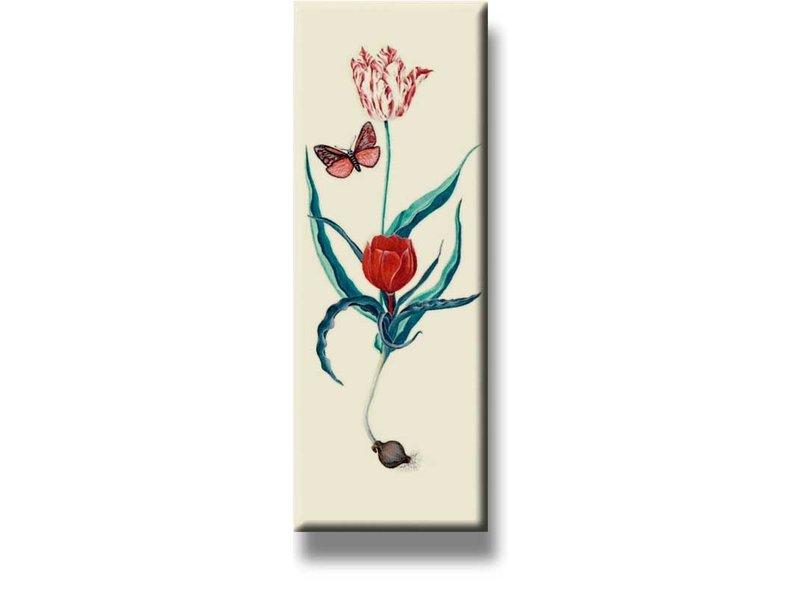 Kühlschrankmagnet, zwei Tulpen und Schmetterling