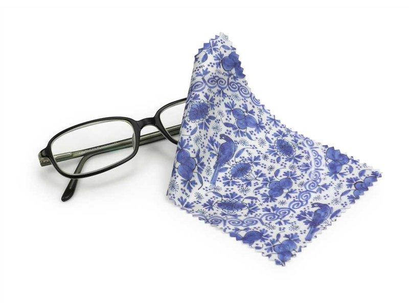 Brillenputztuch , 10 x 15 cm, Delfter Blau, Fayence-Platte