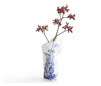 Florero de papel, motivos azules de Delft