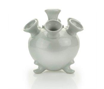 White tulip vase, round, 17 cm