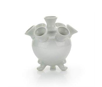 White tulip vase, round, 14 cm