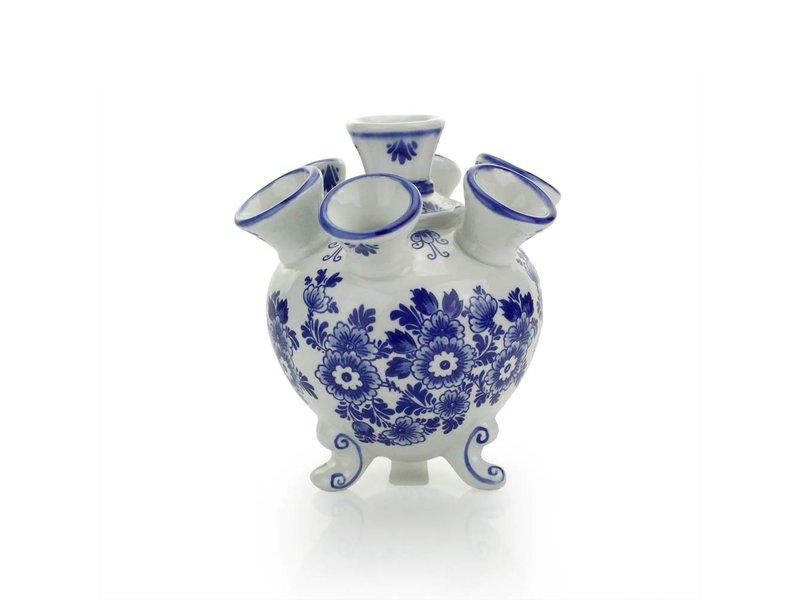 Vase tulipe bleu de Delft, rond, 14 cm D0301
