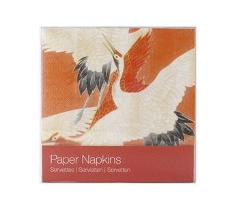 Paper Napkins, White and Red Cranes