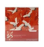 Servilletas de papel, grullas blancas y rojas