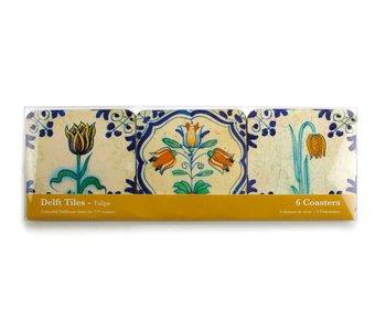 Dessous de verre, tuiles polychromes de Delft Tulipes (Polychrome)
