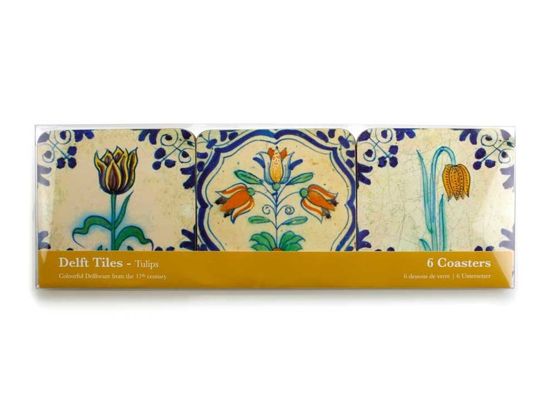 Coasters, Delft Tiles -Tulips ,Colourful (Polychrome)