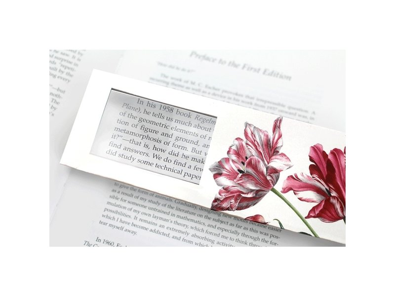 Marque-page avec loupe, Trois tulipes, Merian