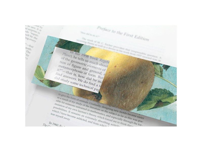 Lesezeichen mit Lupe, Apfel, Koch